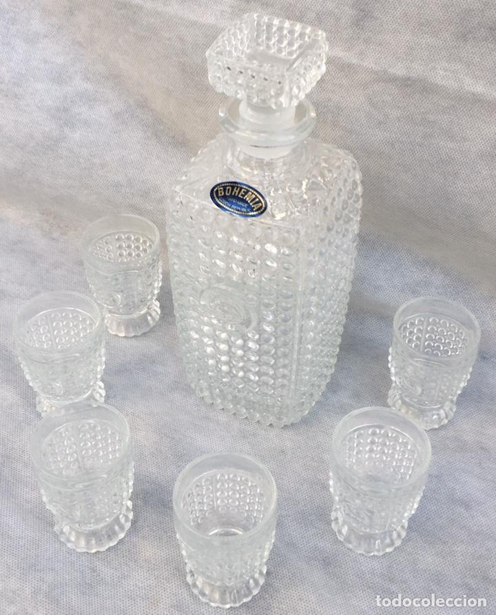 Antigüedades: Juego licorera Cristal de Bohemia tallado - Foto 5 - 213796232