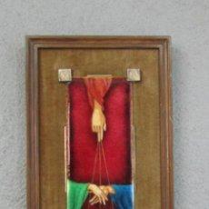 Antigüedades: ANTIGUA PLACA ESMALTADA - PLANCHA RELIGIOSA - CUADRO EN COBRE-LATÓN - CON MARCO - AÑOS 60. Lote 213800720