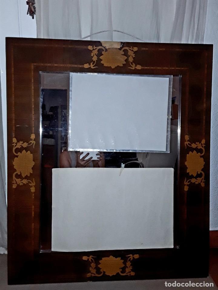 ESPEJO MALLORQUIN CAOBA Y MARQUETERIA PARA RESTAURAR. (Antigüedades - Muebles Antiguos - Espejos Antiguos)