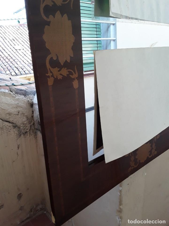 Antigüedades: Espejo mallorquin caoba y marqueteria para restaurar. - Foto 5 - 213811533