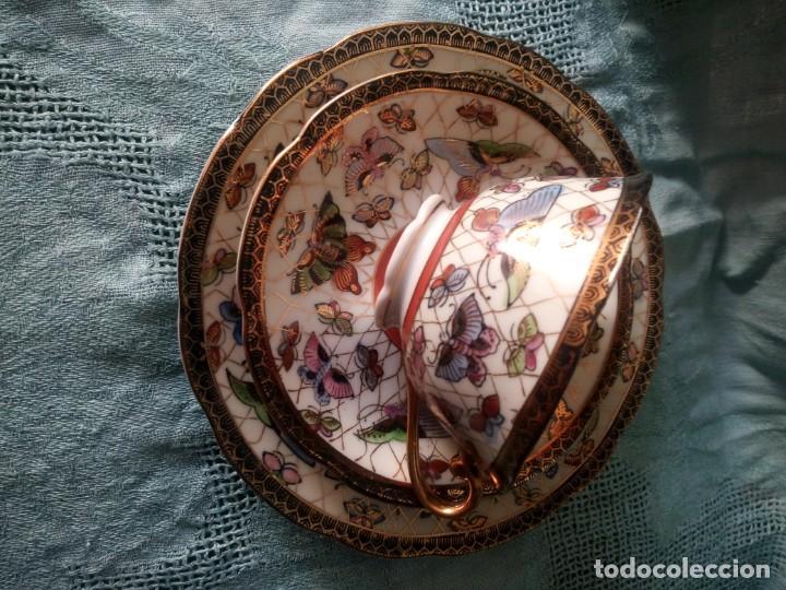 Antigüedades: Precioso y antiguo solitario de merienda porcelana china,18% oro,imagen de la mujer en el fondo - Foto 3 - 213818081