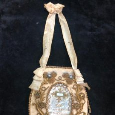 Antigüedades: ESPECTACULAR ESCAPULARIO BORDADO RELICARIO PAÑO TOCADO AL CUERPO DE SAN AGUSTIN - 11X9 CM. Lote 213818916