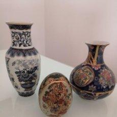 Antigüedades: LOTE TRES PIEZAS PORCELANA ORIENTAL ESMALTADOS CHINA Y JAPÓN SELLO EN BASE. Lote 213849982