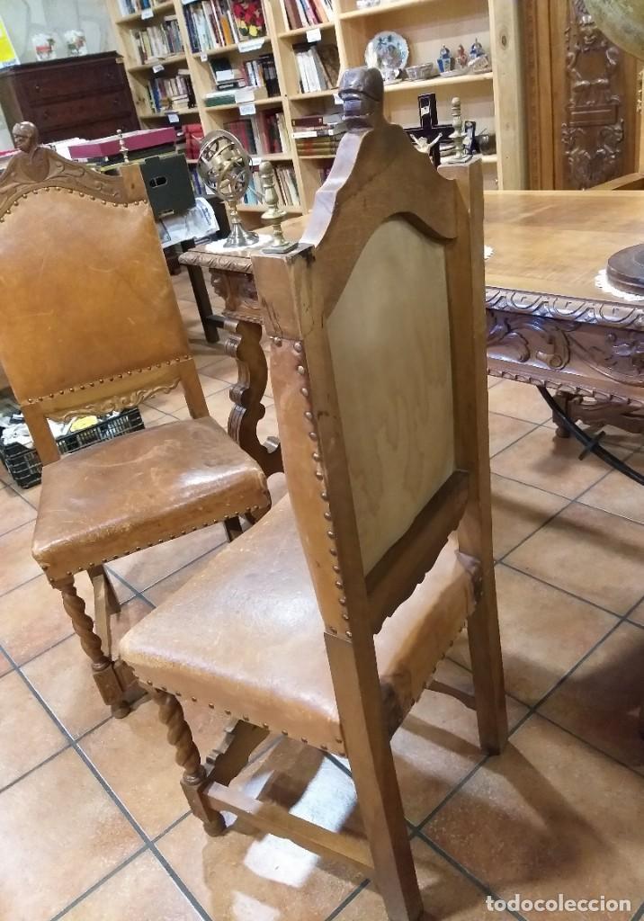 Antigüedades: MUEBLE DESPACHO NOGAL TALLADO AGUILAS BICÉFALA, MUEBLE VITRINA EMPLOMADA MESA SILLÓN 2 SILLAS CUERO - Foto 18 - 213874221