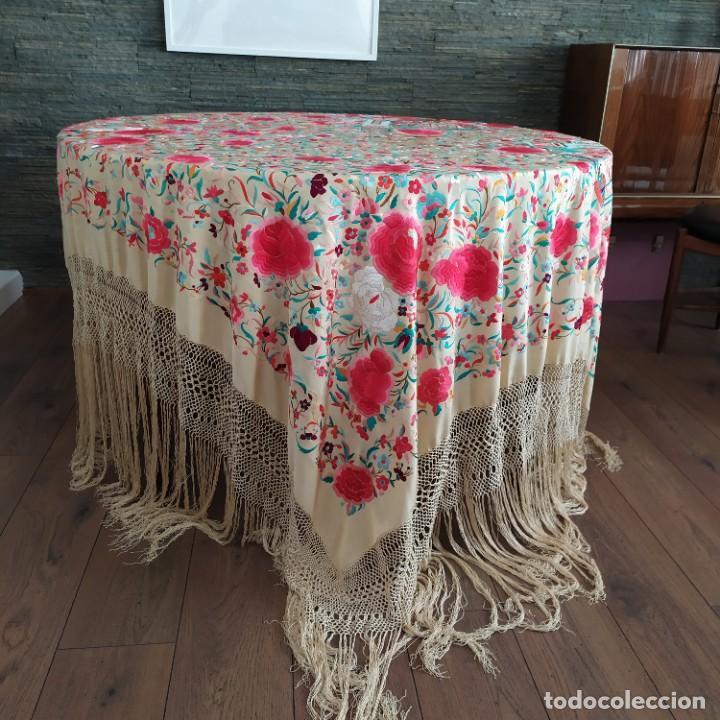Antigüedades: Impresionante mantón de Manila del S. XIX - Foto 79 - 213877765
