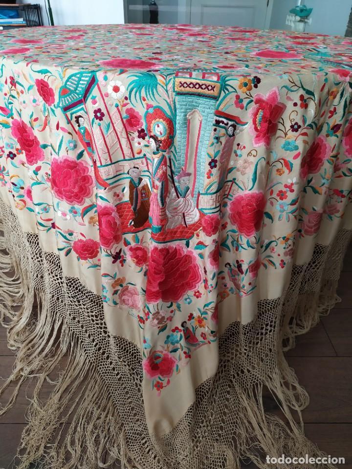 Antigüedades: Impresionante mantón de Manila del S. XIX - Foto 4 - 213877765