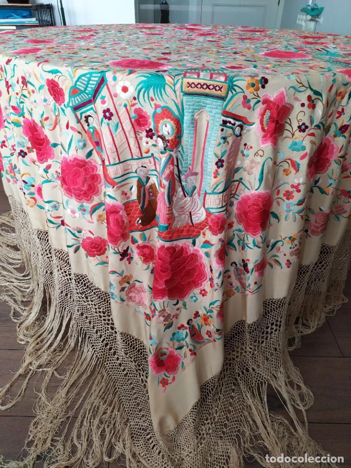 Antigüedades: Impresionante mantón de Manila del S. XIX - Foto 5 - 213877765