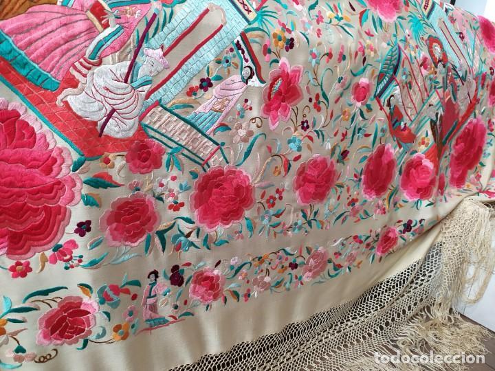 Antigüedades: Impresionante mantón de Manila del S. XIX - Foto 8 - 213877765
