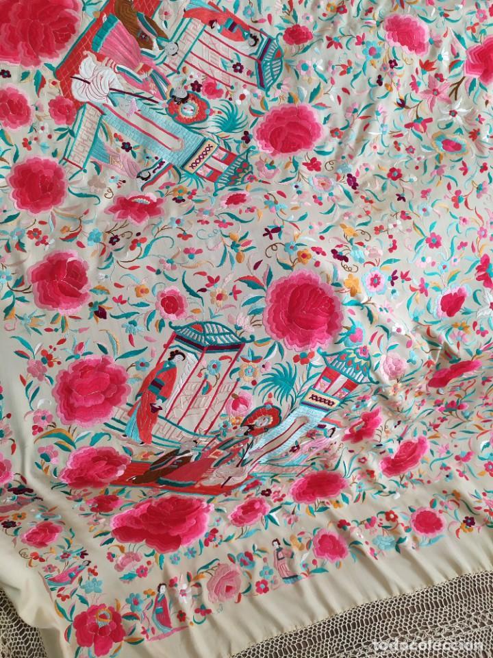 Antigüedades: Impresionante mantón de Manila del S. XIX - Foto 9 - 213877765