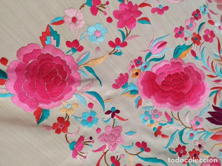 Antigüedades: Impresionante mantón de Manila del S. XIX - Foto 11 - 213877765