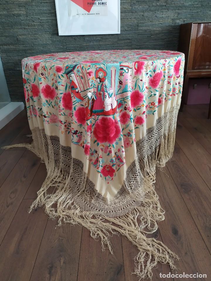 Antigüedades: Impresionante mantón de Manila del S. XIX - Foto 12 - 213877765