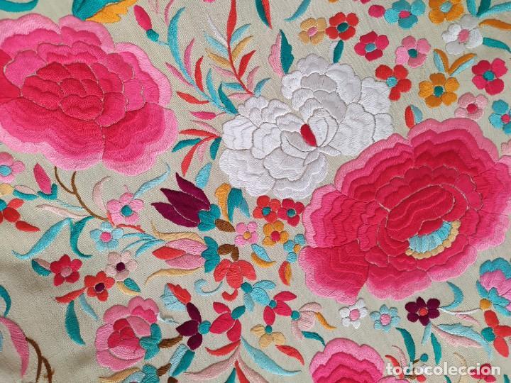 Antigüedades: Impresionante mantón de Manila del S. XIX - Foto 13 - 213877765
