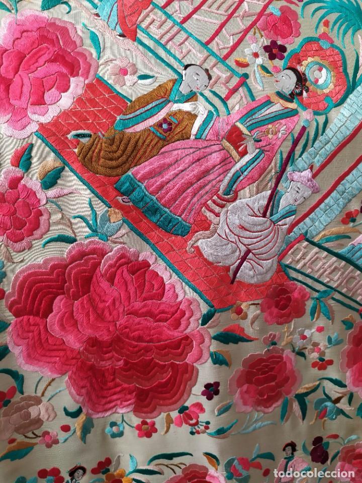 Antigüedades: Impresionante mantón de Manila del S. XIX - Foto 16 - 213877765