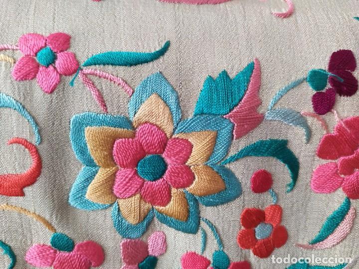 Antigüedades: Impresionante mantón de Manila del S. XIX - Foto 17 - 213877765