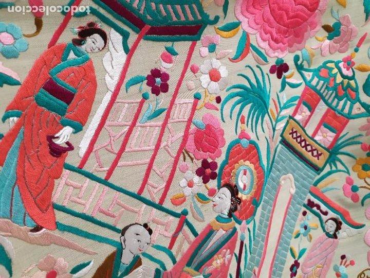 Antigüedades: Impresionante mantón de Manila del S. XIX - Foto 18 - 213877765