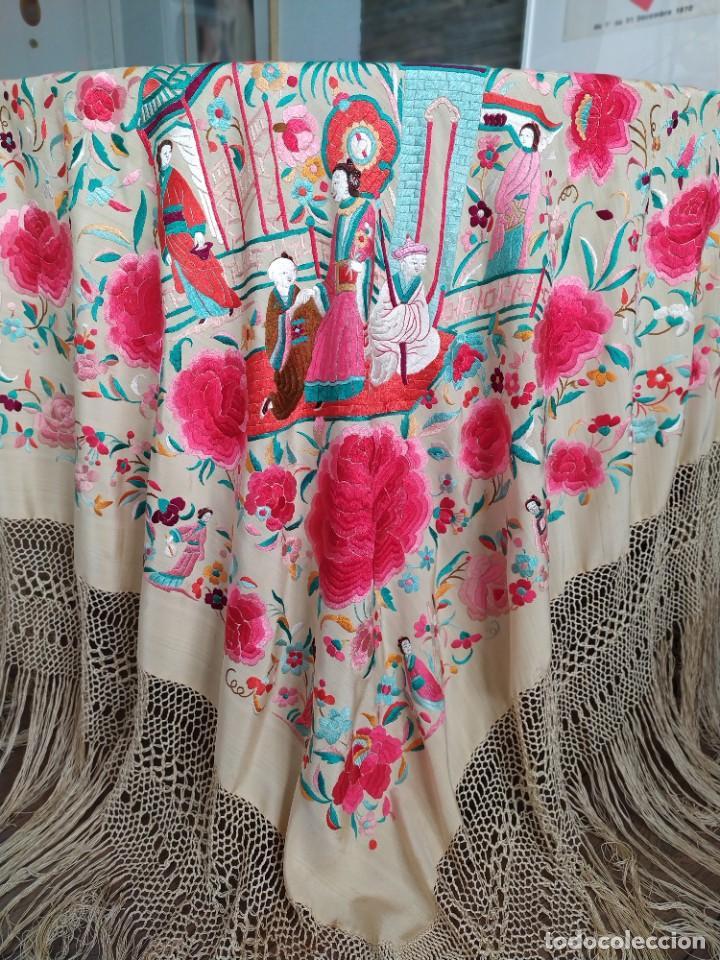 Antigüedades: Impresionante mantón de Manila del S. XIX - Foto 19 - 213877765