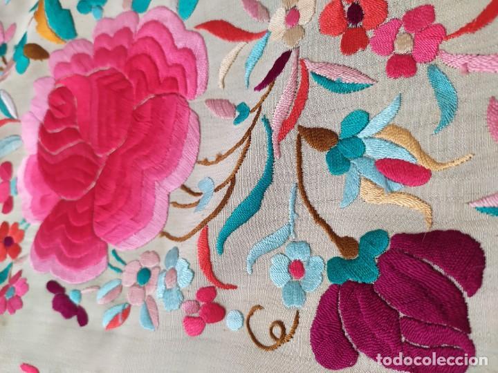 Antigüedades: Impresionante mantón de Manila del S. XIX - Foto 20 - 213877765