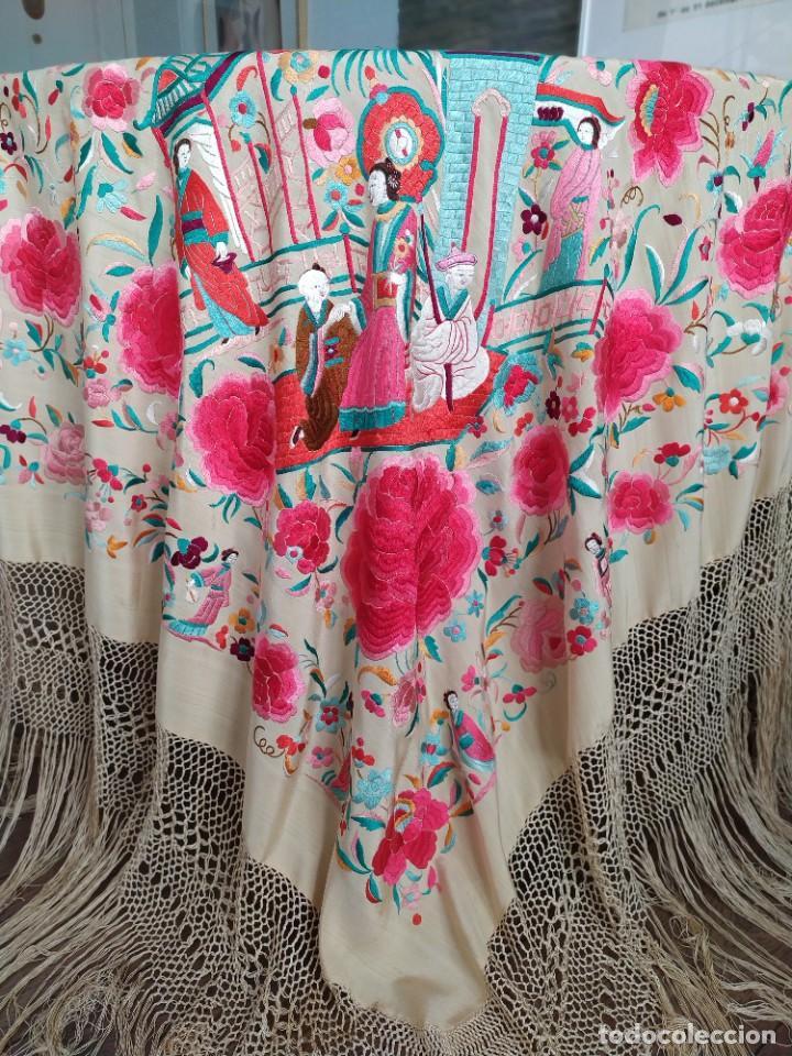 Antigüedades: Impresionante mantón de Manila del S. XIX - Foto 21 - 213877765