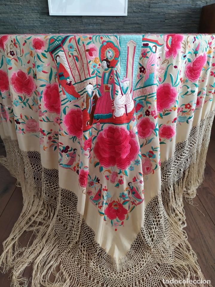 Antigüedades: Impresionante mantón de Manila del S. XIX - Foto 23 - 213877765