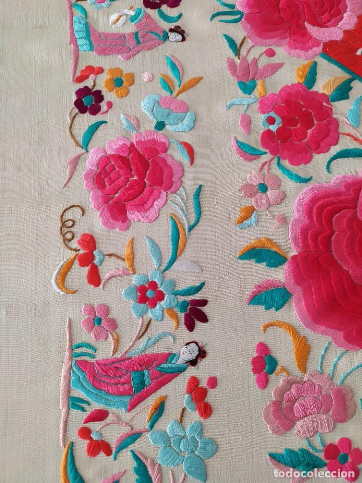 Antigüedades: Impresionante mantón de Manila del S. XIX - Foto 27 - 213877765