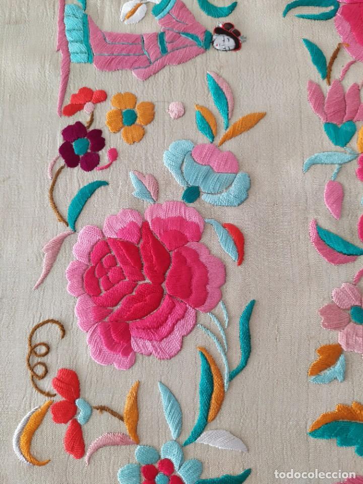 Antigüedades: Impresionante mantón de Manila del S. XIX - Foto 32 - 213877765
