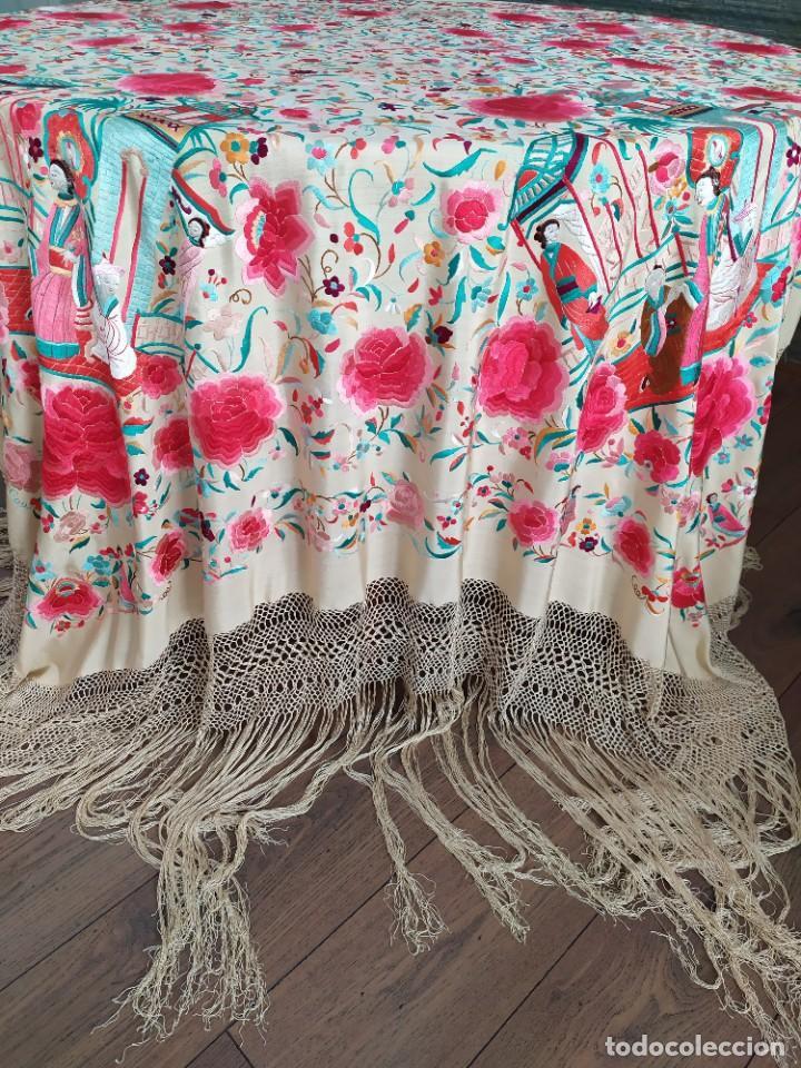 Antigüedades: Impresionante mantón de Manila del S. XIX - Foto 33 - 213877765