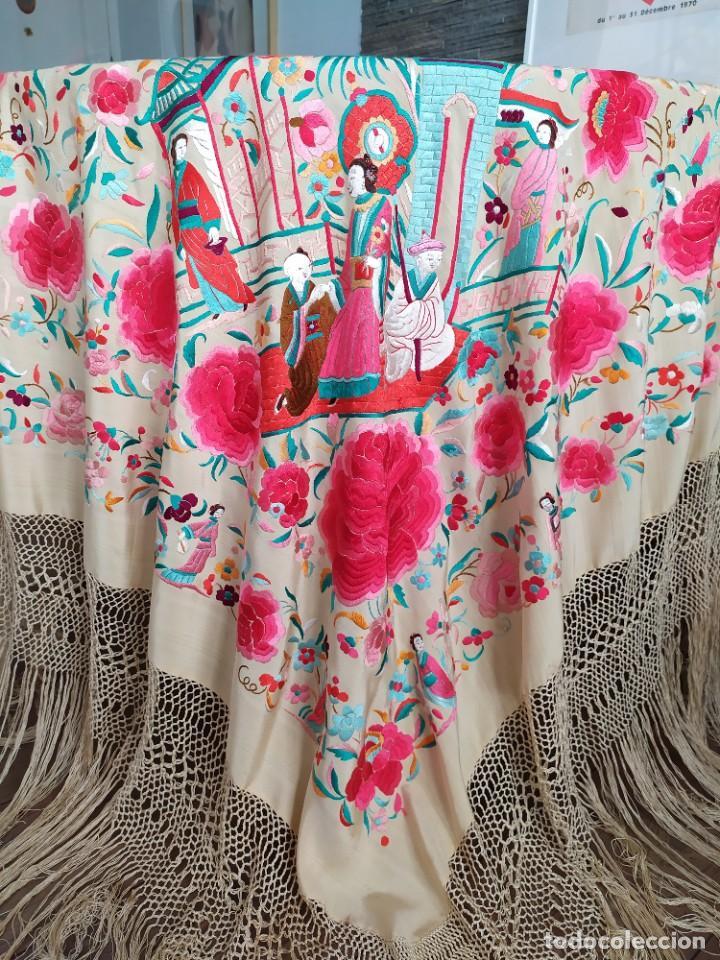 Antigüedades: Impresionante mantón de Manila del S. XIX - Foto 36 - 213877765