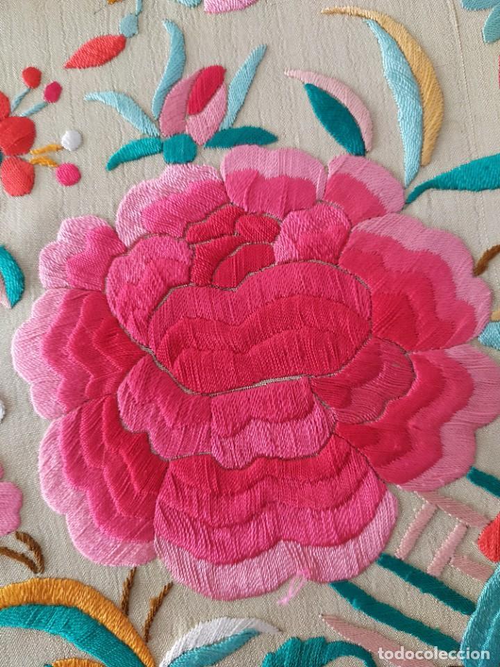 Antigüedades: Impresionante mantón de Manila del S. XIX - Foto 40 - 213877765