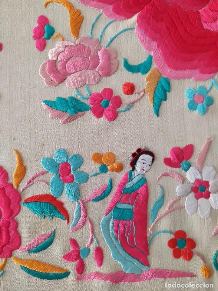 Antigüedades: Impresionante mantón de Manila del S. XIX - Foto 41 - 213877765