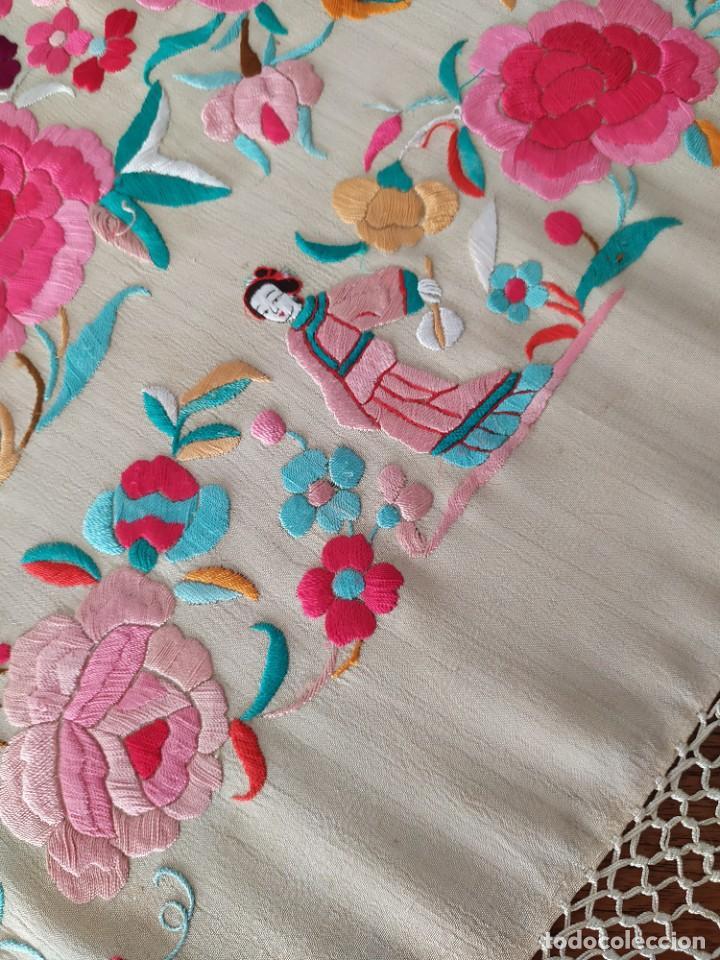 Antigüedades: Impresionante mantón de Manila del S. XIX - Foto 42 - 213877765