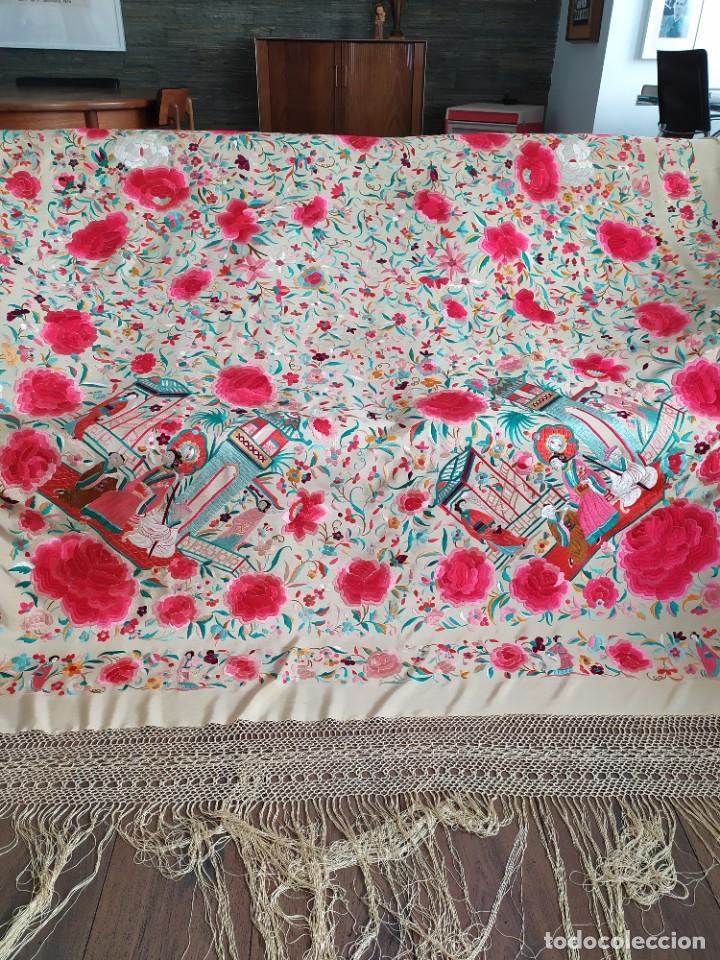 Antigüedades: Impresionante mantón de Manila del S. XIX - Foto 44 - 213877765