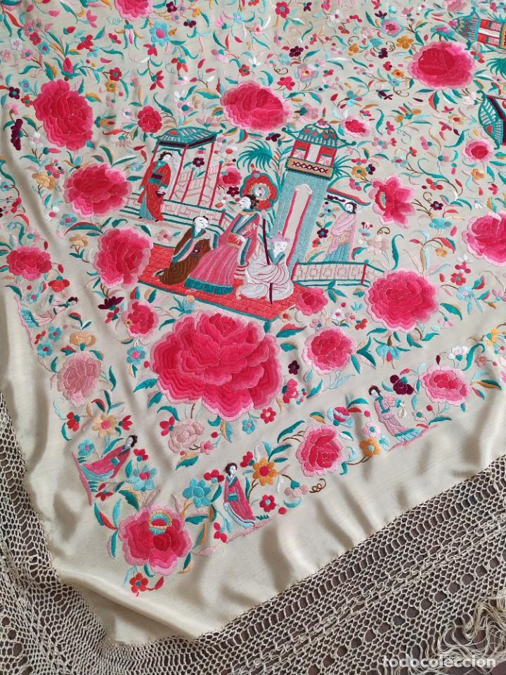 Antigüedades: Impresionante mantón de Manila del S. XIX - Foto 45 - 213877765