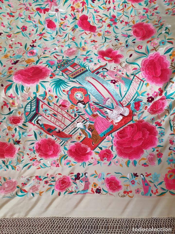 Antigüedades: Impresionante mantón de Manila del S. XIX - Foto 46 - 213877765