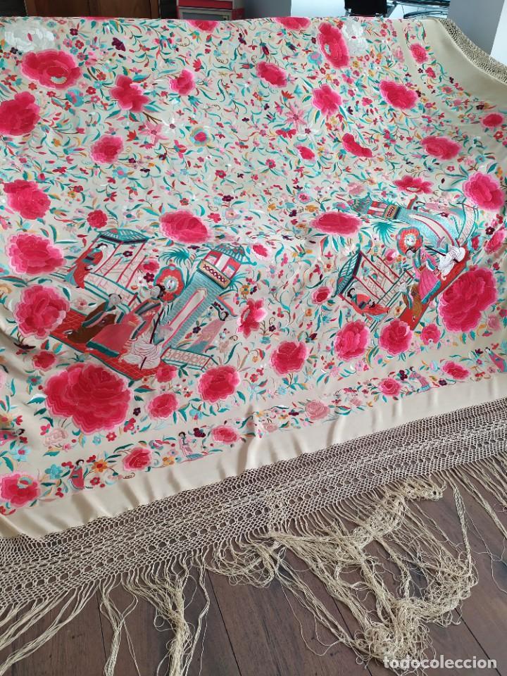 Antigüedades: Impresionante mantón de Manila del S. XIX - Foto 48 - 213877765
