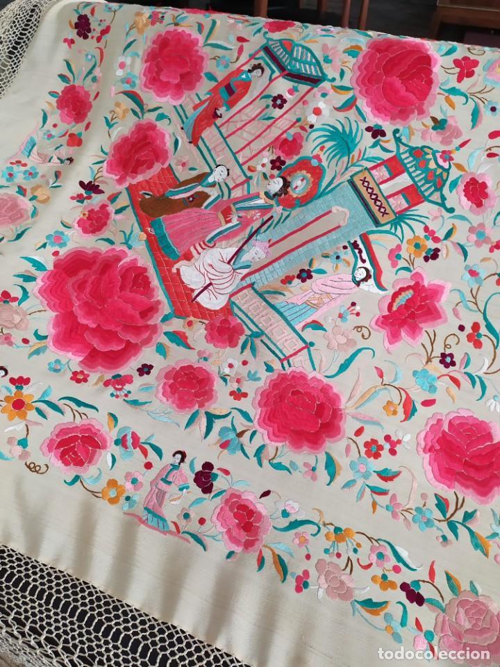 Antigüedades: Impresionante mantón de Manila del S. XIX - Foto 50 - 213877765