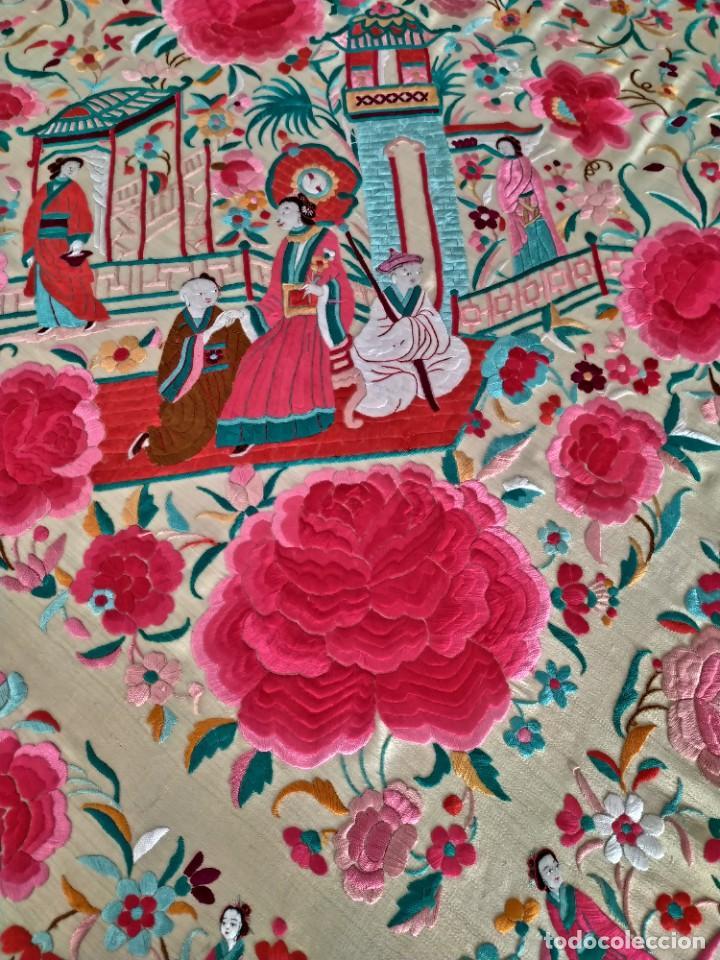 Antigüedades: Impresionante mantón de Manila del S. XIX - Foto 52 - 213877765