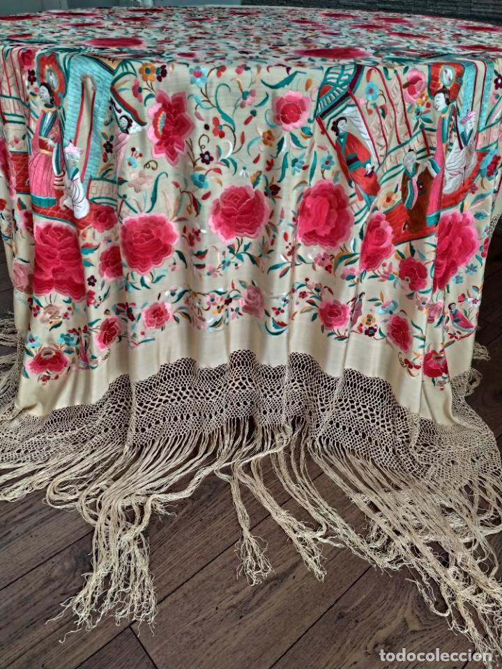 Antigüedades: Impresionante mantón de Manila del S. XIX - Foto 54 - 213877765