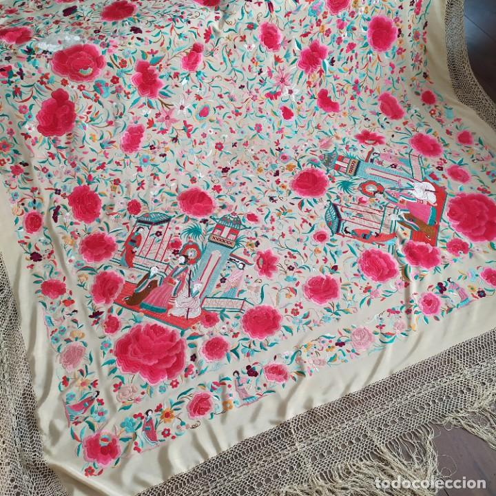 Antigüedades: Impresionante mantón de Manila del S. XIX - Foto 57 - 213877765
