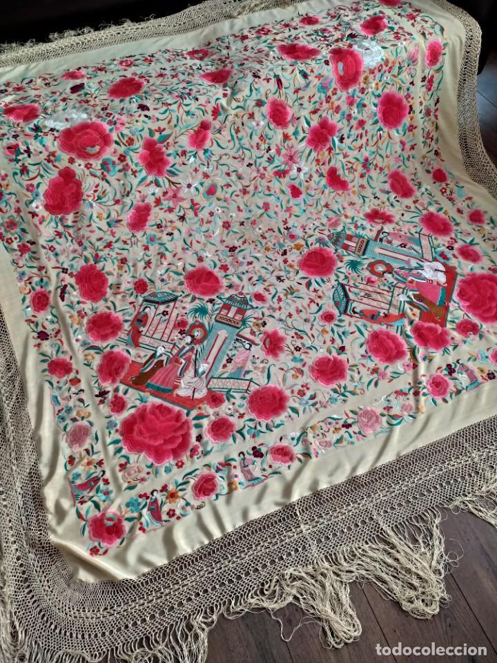 Antigüedades: Impresionante mantón de Manila del S. XIX - Foto 2 - 213877765