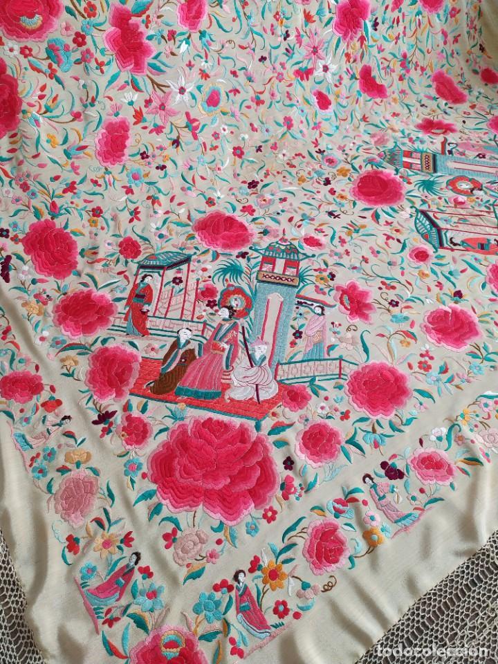 Antigüedades: Impresionante mantón de Manila del S. XIX - Foto 58 - 213877765