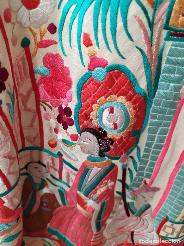 Antigüedades: Impresionante mantón de Manila del S. XIX - Foto 60 - 213877765