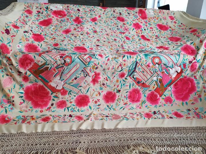 Antigüedades: Impresionante mantón de Manila del S. XIX - Foto 64 - 213877765