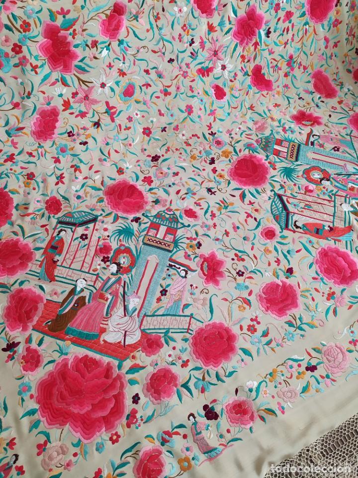 Antigüedades: Impresionante mantón de Manila del S. XIX - Foto 69 - 213877765