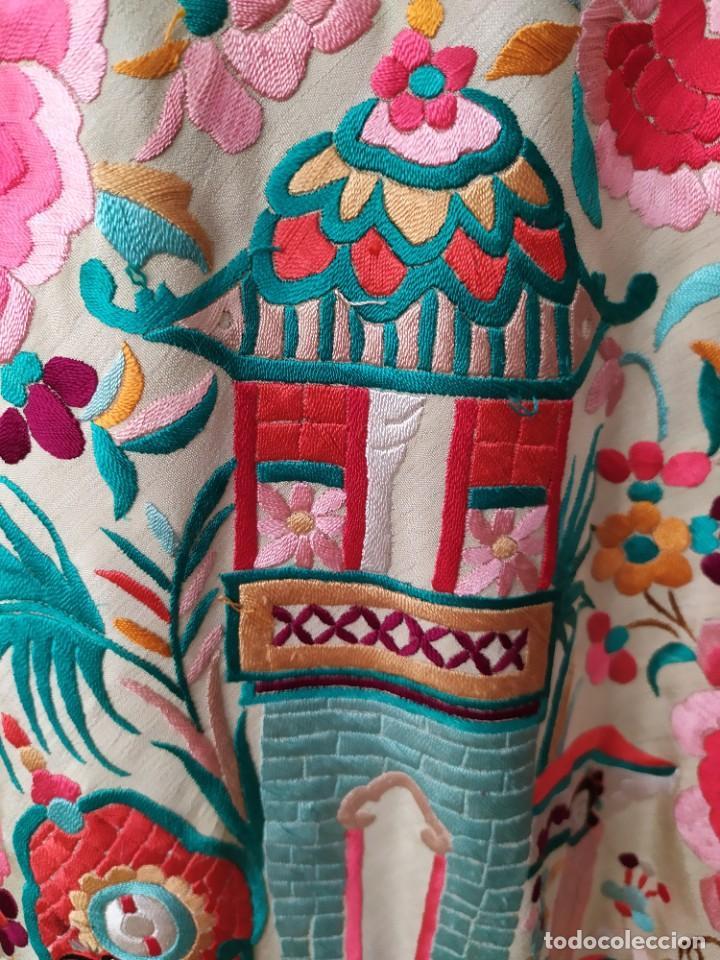 Antigüedades: Impresionante mantón de Manila del S. XIX - Foto 76 - 213877765