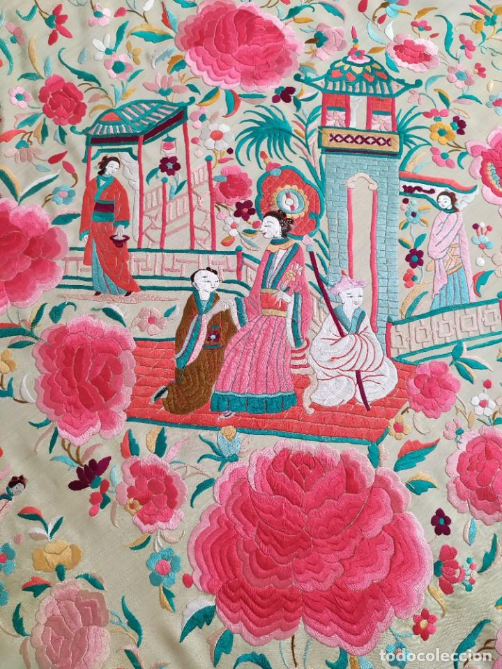 Antigüedades: Impresionante mantón de Manila del S. XIX - Foto 78 - 213877765