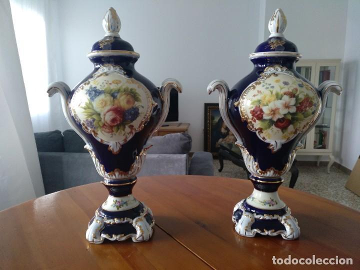 Antigüedades: Pareja Jarrones de Porcelana Francesa RETIER. Grandes - Foto 6 - 213899107