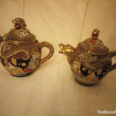 Antigüedades: ANTIGUA TETERA Y AZUCARERO DE PORCELANA SATSUMA,MODELO DRAGON.PINTADOS A MANO. Lote 213907620