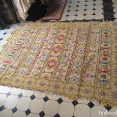 Antigüedades: ANTIGUA ALFOMBRA LANA ALPUJARREÑA S.R.C AÑOS 40S APROXIMADAMENTE GRAN TAMAÑO GRANADA LAZUBILA. Lote 213909706