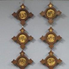Antigüedades: GRAN VIA CRUCIS. CON RELIEVES DE METAL DORADO Y MADERA DE NOGAL. SIGUE MODELOS DE GHIBERTI. S. XIX. Lote 227464885