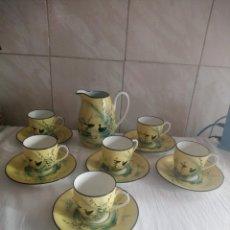 Antigüedades: PRECIOSO JUEGO DE CAFÉ DE PORCELANA LIMOGES,PINTADO A MANO.13 PIEZAS. Lote 213926680